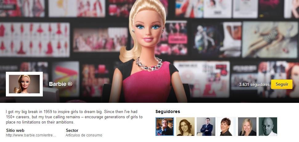 Perfil de Linkedin de la nueva Barbie emprendedora